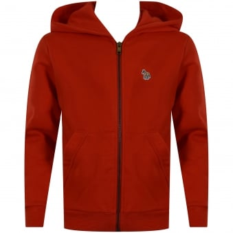Paul Smith Junior Red Logo Zip Up Hoodie