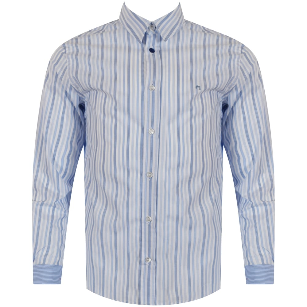 57ba5b876 PAUL SMITH JUNIOR Paul Smith Junior Sky Blue Stripe Logo Shirt ...