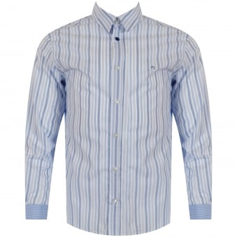 Paul Smith Junior Sky Blue Stripe Logo Shirt