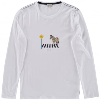 Paul Smith Junior White Zebra Crossing Longsleeve T-Shirt