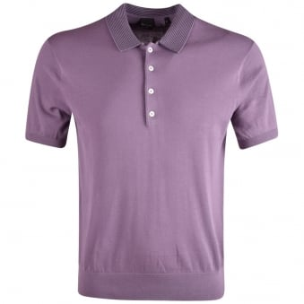 Paul Smith PS Purple Knitted Short Sleeve Polo Shirt