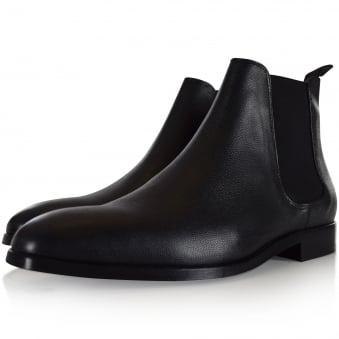 Paul Smith Black Grained Leather Chelsea Boots