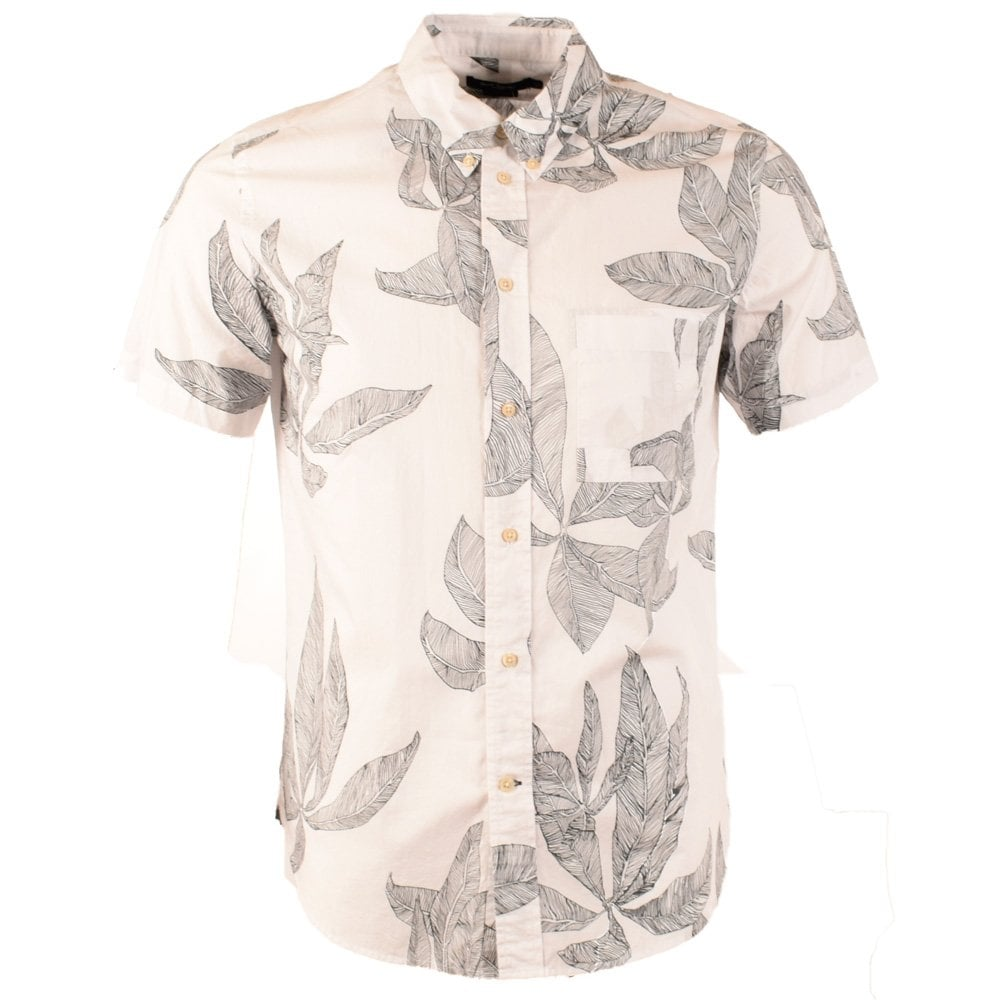 12f506a7971020 PS PAUL SMITH Paul Smith White Leaf Print Short Sleeve Shirt - Men ...