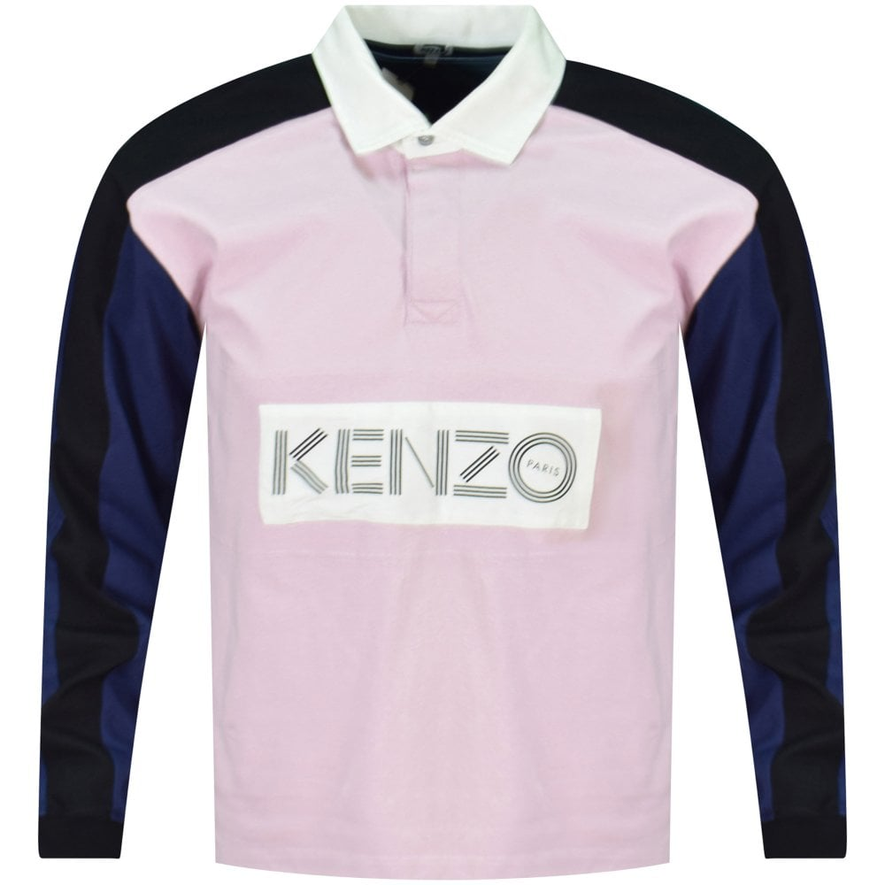 03057f95 KENZO Pink Block Colour Rugby Polo Shirt - Department from ...