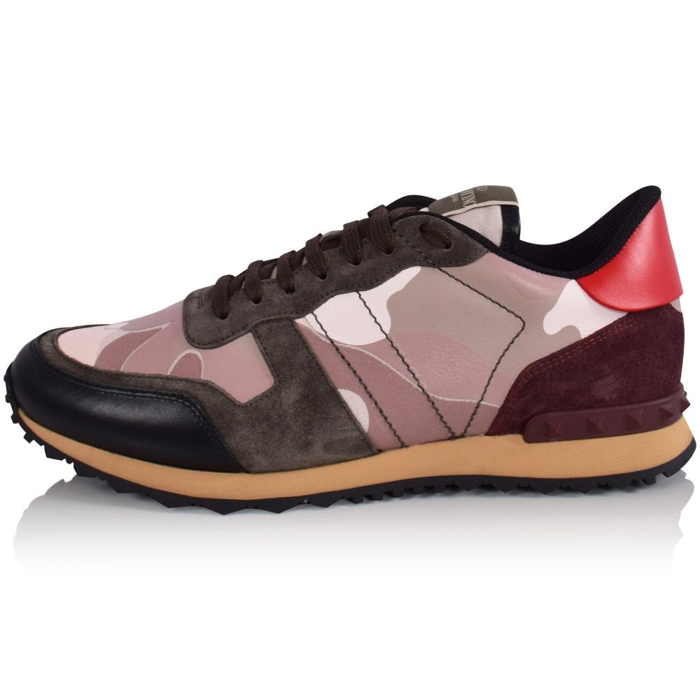 VALENTINO Pink Camo Rockrunner Trainers