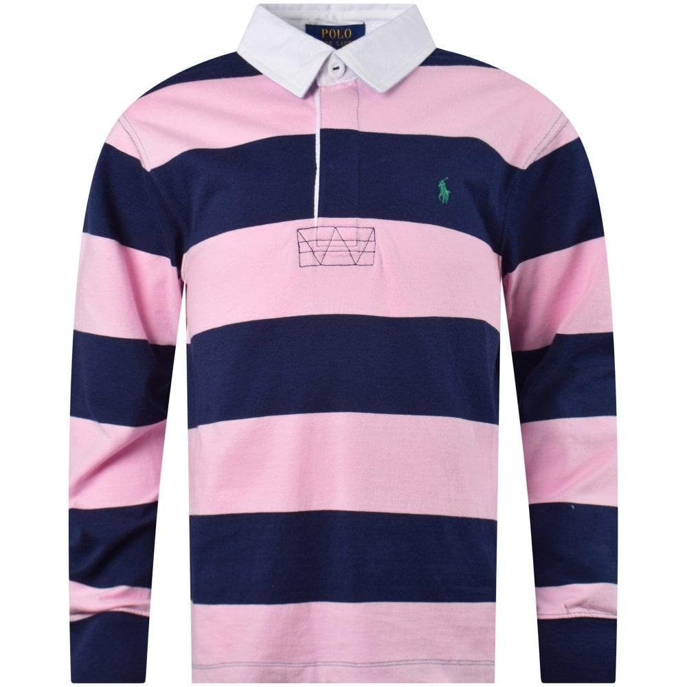 fa8efbf1a4b5c Pink/Navy Stripe Rugby Polo Shirt