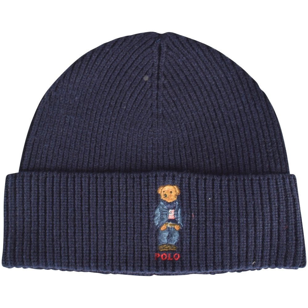 POLO RALPH LAUREN Blue Bear Logo Beanie Hat ce169f7758f1