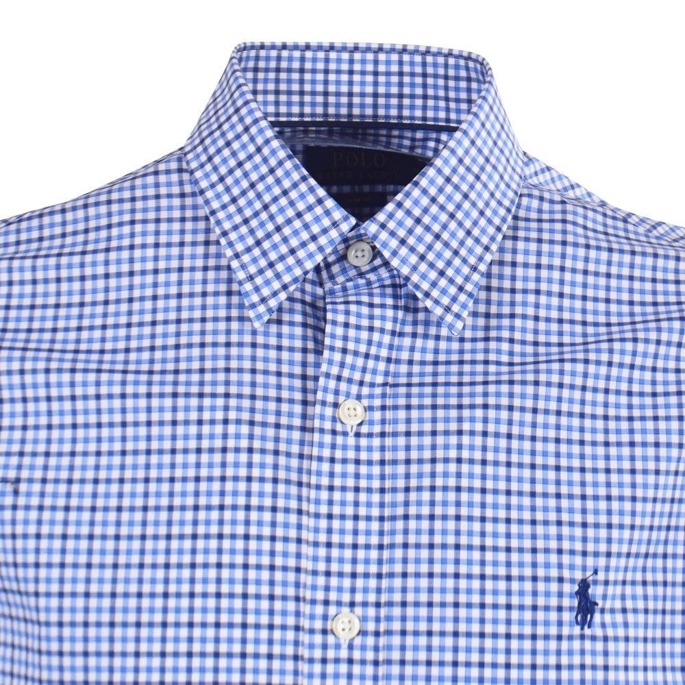 Mens Blue Long Sleeved Check Shirt D9EHI2