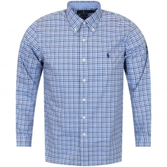 Polo Ralph Lauren Blue Cotton Stretch Long Sleeve Shirt