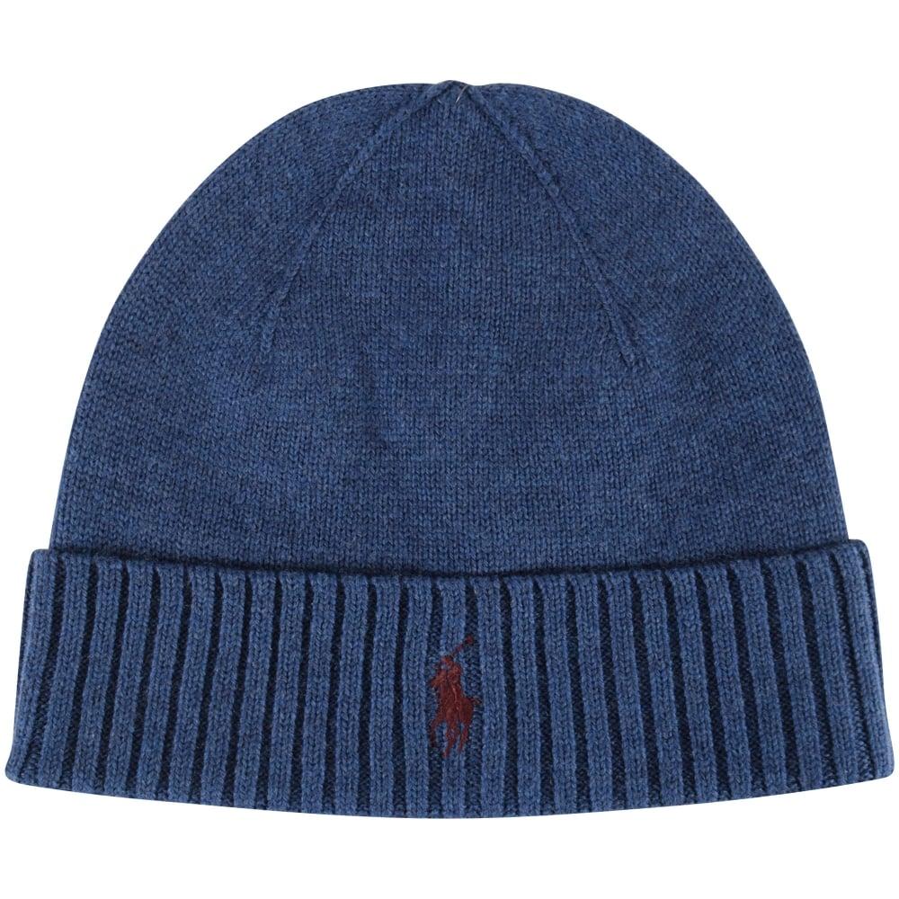 8085340cdf6a2 POLO RALPH LAUREN Polo Ralph Lauren Blue Fold Over Logo Beanie Hat ...