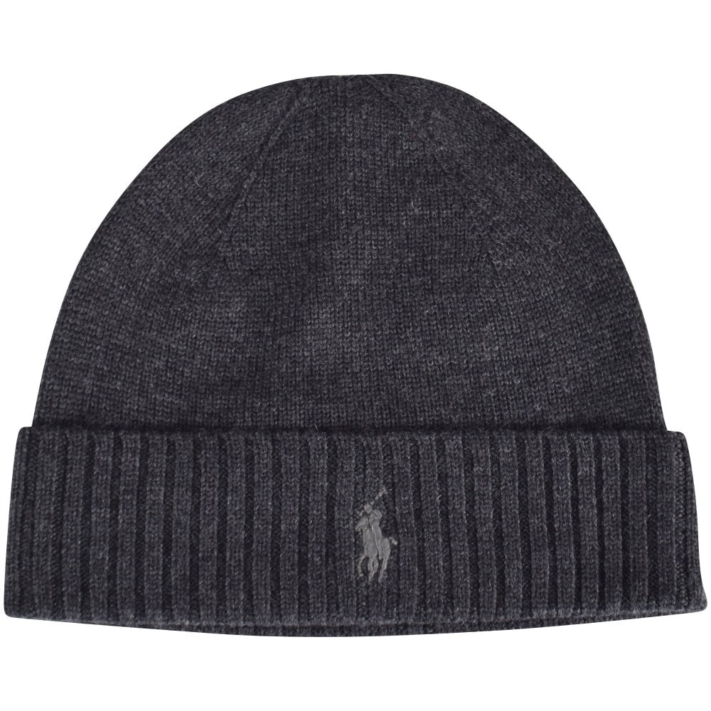 0e35b416 POLO RALPH LAUREN Dark Grey Logo Beanie Hat - Department from ...