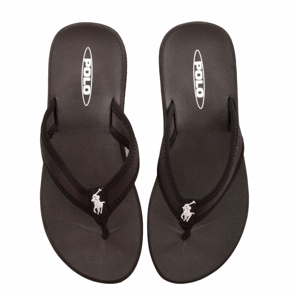 09832a6610db POLO RALPH LAUREN FOOTWEAR A89Y0378 OFJUR Black Fabric Flip Flops ...