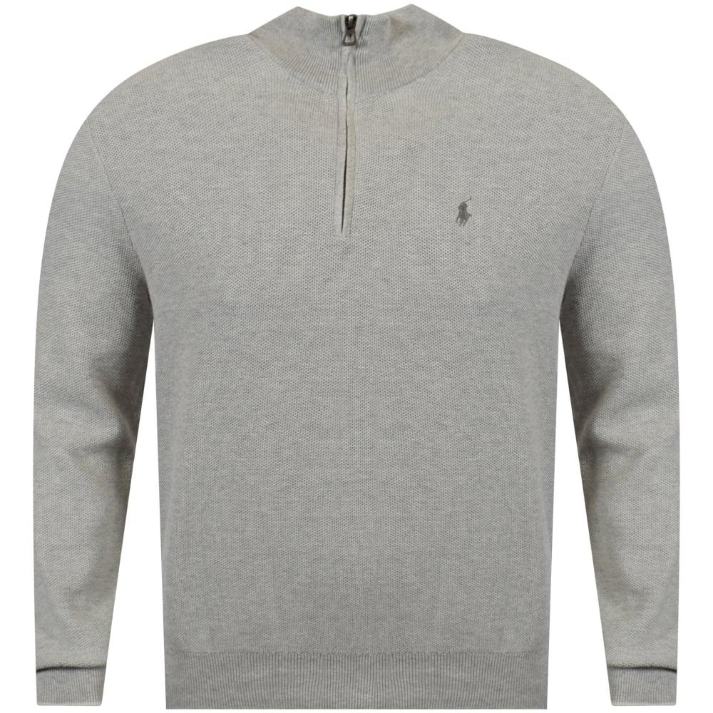 Half Lauren Sweatshirt Grey Ralph Polo Zip jRLA45