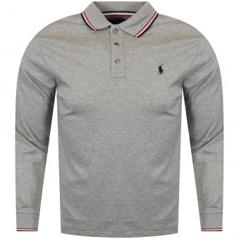 Polo Ralph Lauren Grey Heather Tipped Collar Long Sleeved Polo Shirt