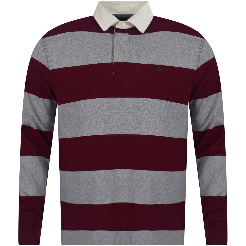 45b70b89 Heather Grey & Burgundy Stripe Iconic Rugby Polo Shirt