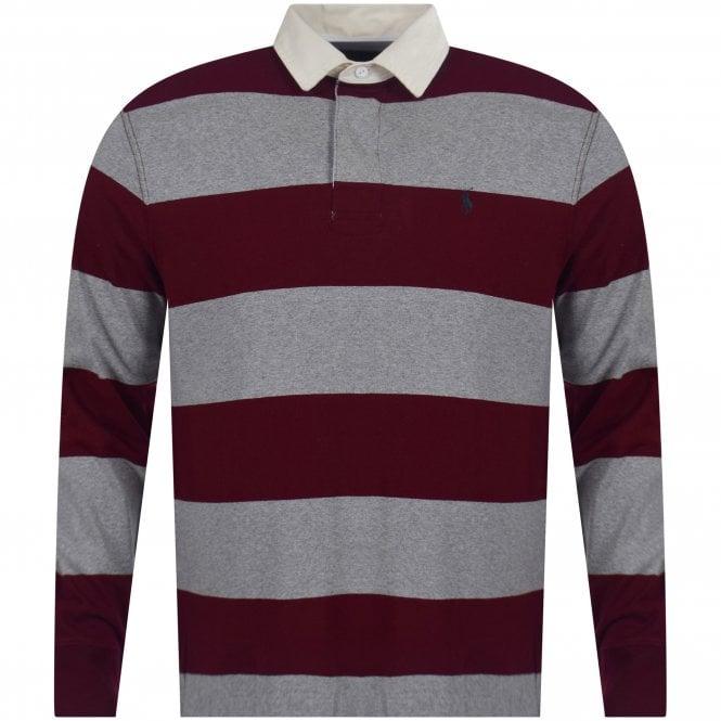 98b973904 Polo Ralph Lauren Heather Grey  amp  Burgundy Stripe Iconic Rugby Polo Shirt