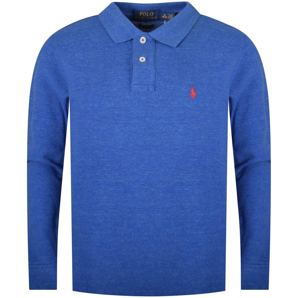 58c44d6f43 Blue Classic Long Sleeve Polo Shirt