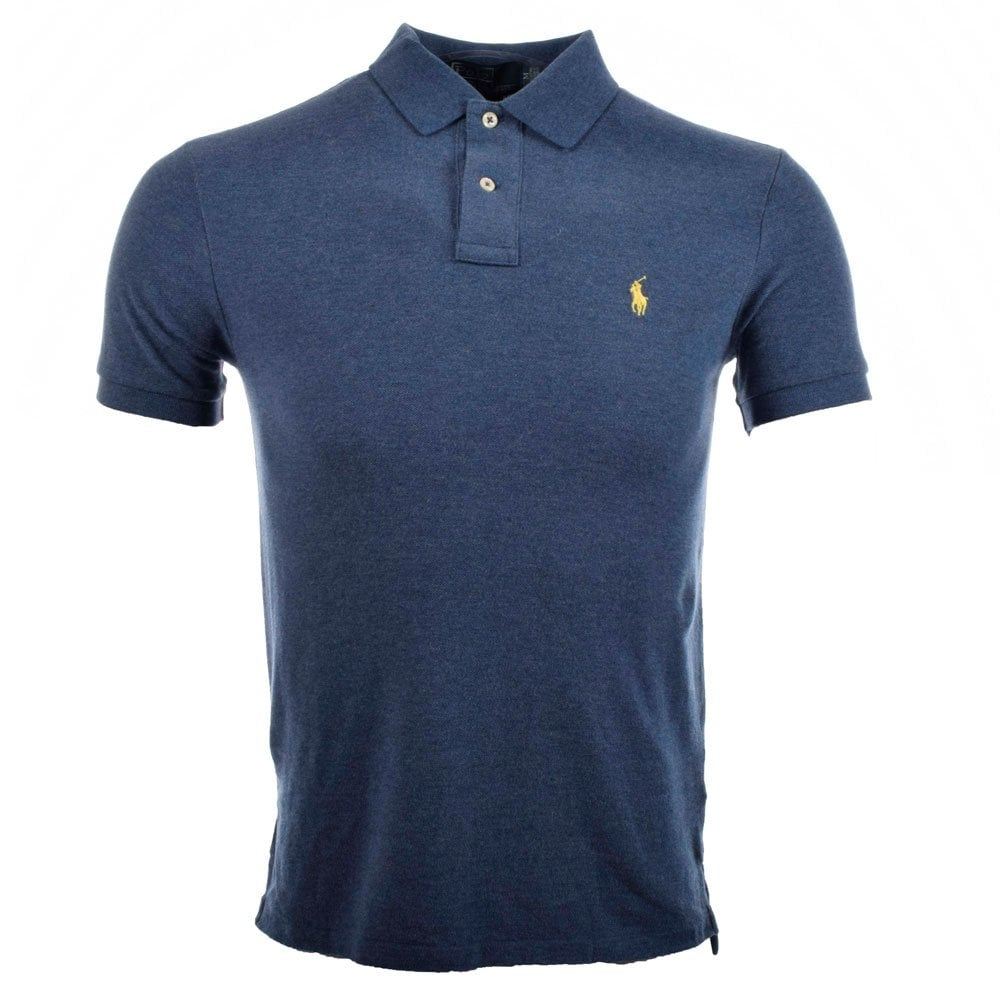 0ee80bdd5765 POLO RALPH LAUREN Navy Blue Marl Slim Fit Polo - Men from Brother2Brother UK