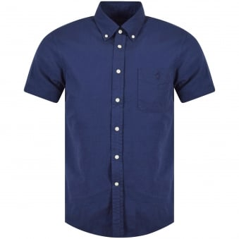 Polo Ralph Lauren Navy Linen Short Sleeve Shirt