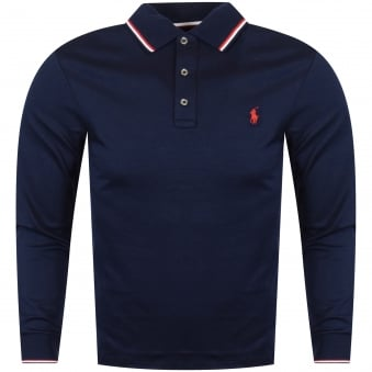 Polo Ralph Lauren Navy Tipped Long Sleeved Polo Shirt