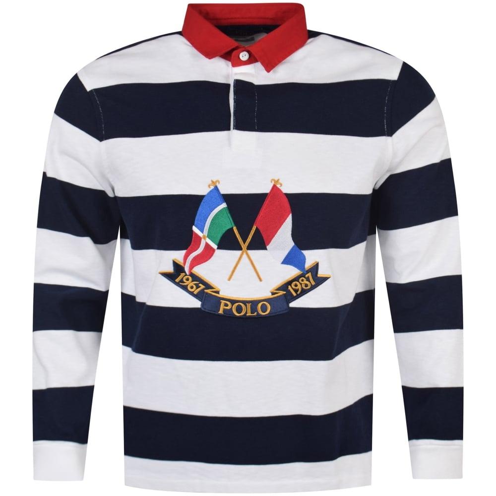 997769c6ee8fe POLO RALPH LAUREN Polo Ralph Lauren Navy White Rugby Polo Shirt ...