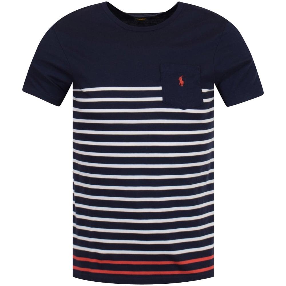 1a6ef8dd0c Navy/White Stripe Pocket Logo T-Shirt