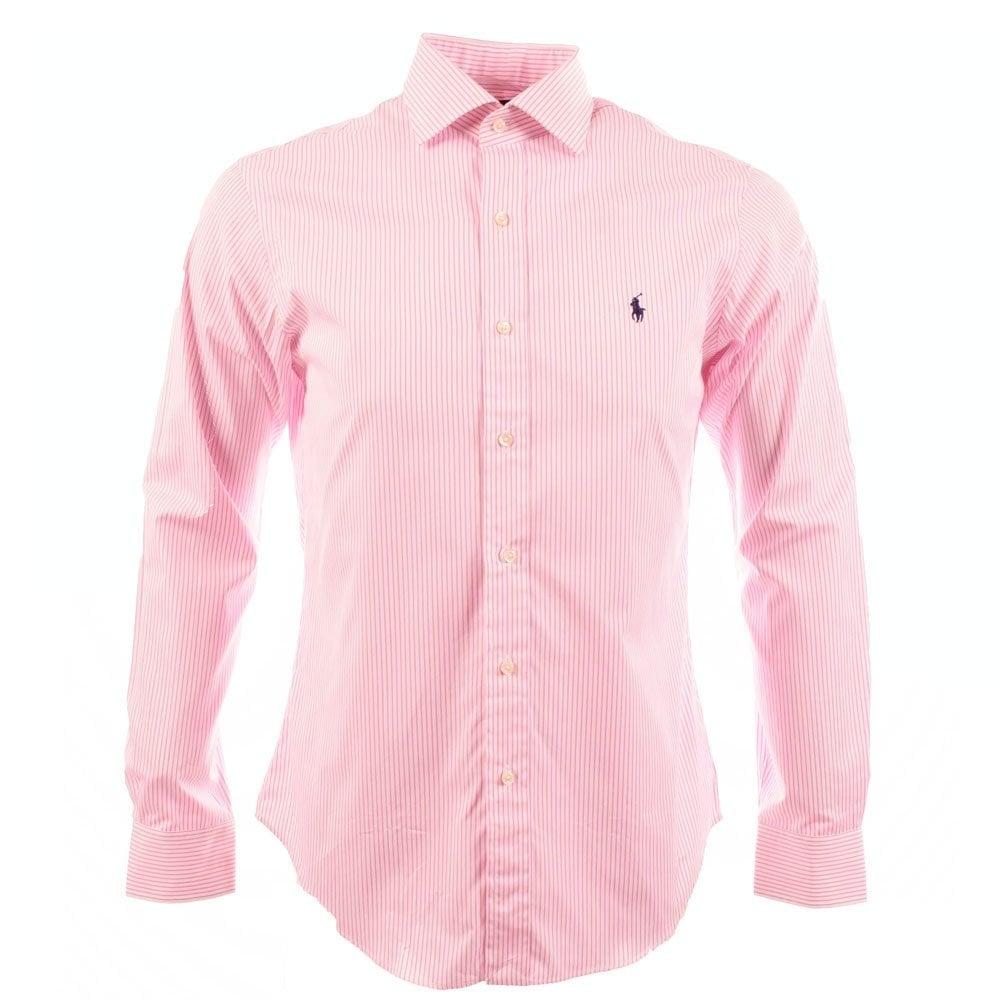Polo ralph lauren red polo ralph lauren custom fit stripe for Pink white striped shirt