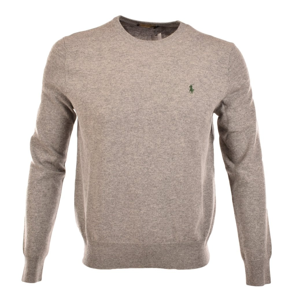 Sweater Wool Ralph Merino Lauren Polo Grey Neck Crew Heather wpSq1FxC