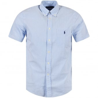 Ralph Lauren Blue/White Stripe Short Sleeve Shirt