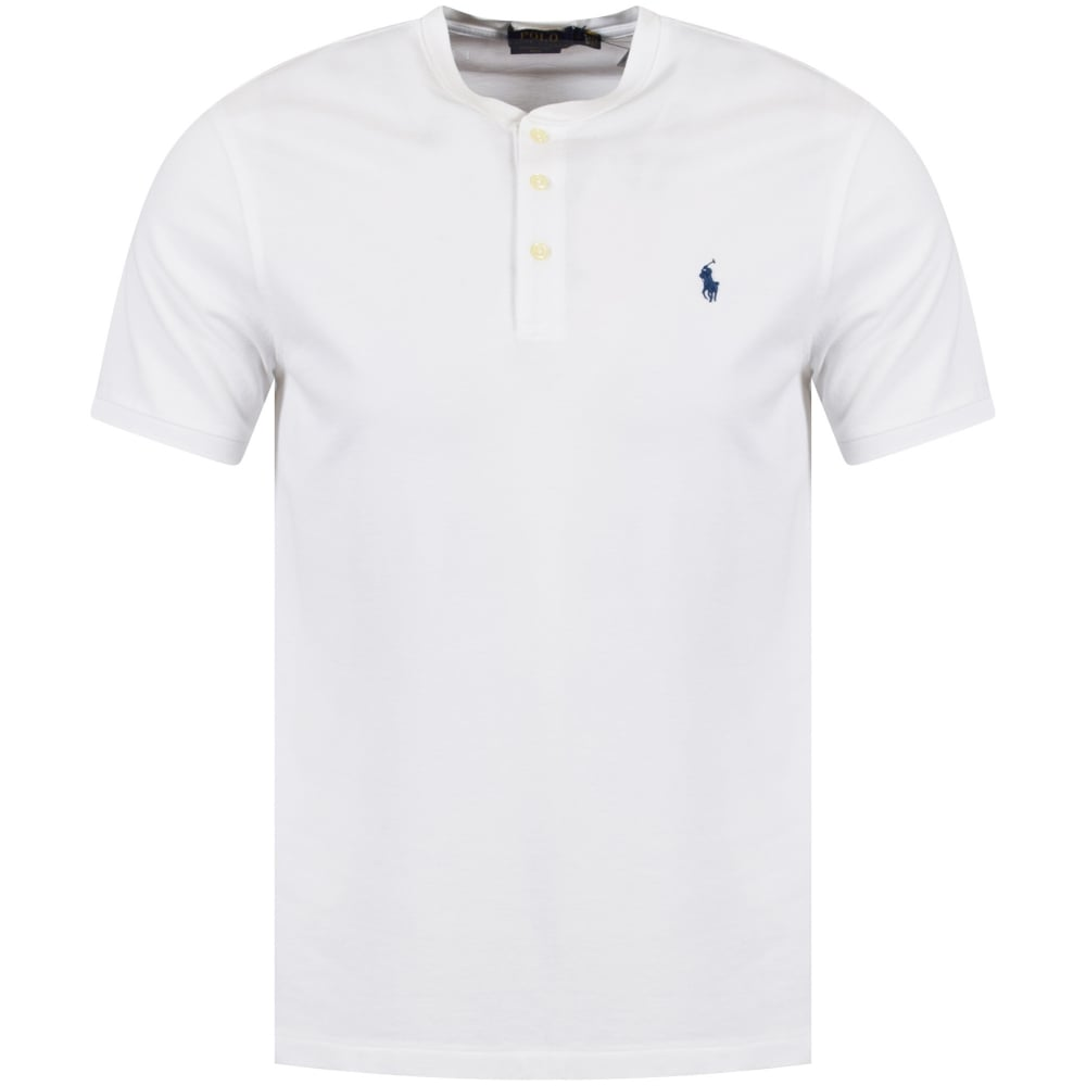 721891156785 POLO RALPH LAUREN Polo Ralph Lauren White Grandad Collar Polo Shirt ...