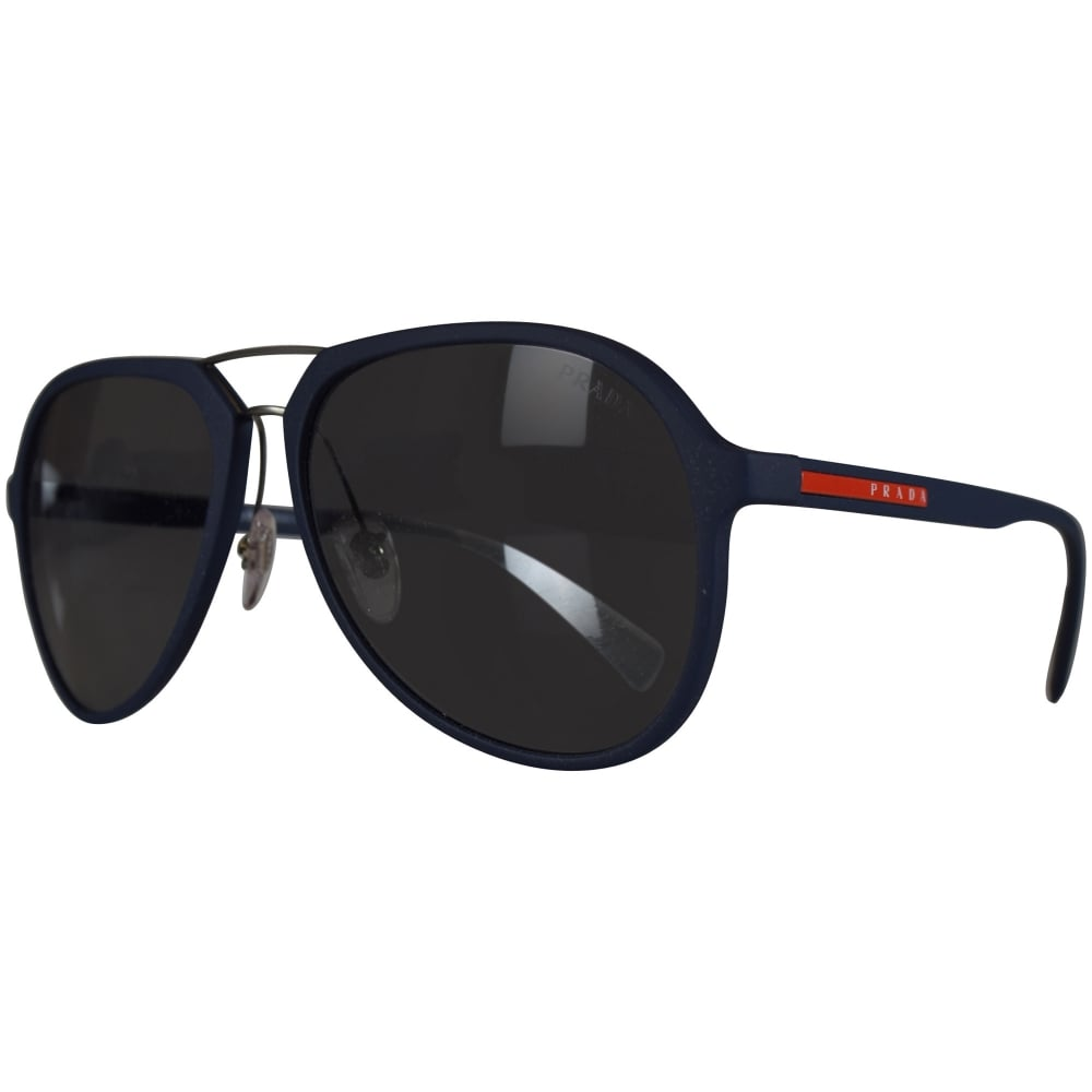 5b91e6e5493a7 PRADA SUNGLASSES Prada Logo Aviator Sunglasses In Navy - Men from ...