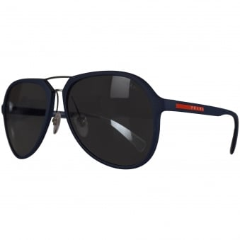 Prada Logo Aviator Sunglasses In Navy