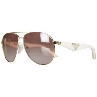 Prada White Aviator Sunglasses