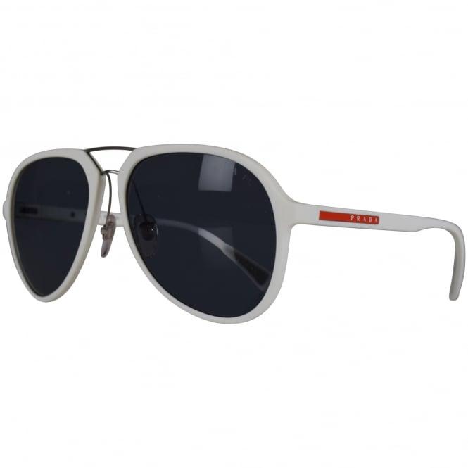 49b31dd61de9 PRADA SUNGLASSES Prada White Rubber Logo Aviator Sunglasses - Men ...