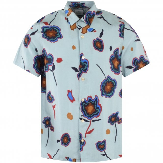 PS PAUL SMITH Blue Floral Casual Shirt Front