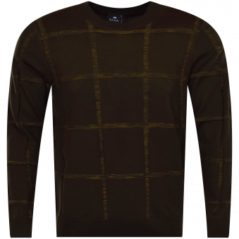 PS Paul Smith Khaki Large Check Thin Knit Jumper