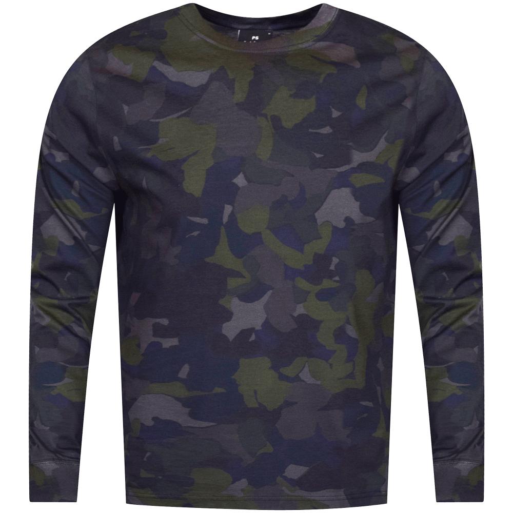 50a64c78 PS PAUL SMITH PS Paul Smith Navy Camo Print Long Sleeve T-Shirt ...