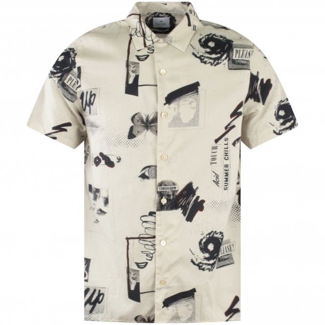 PS PAUL SMITH Off-White Casual Print Shirt Front