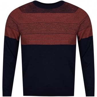 Paul Smith Navy/Orange Striped Knitted Jumper