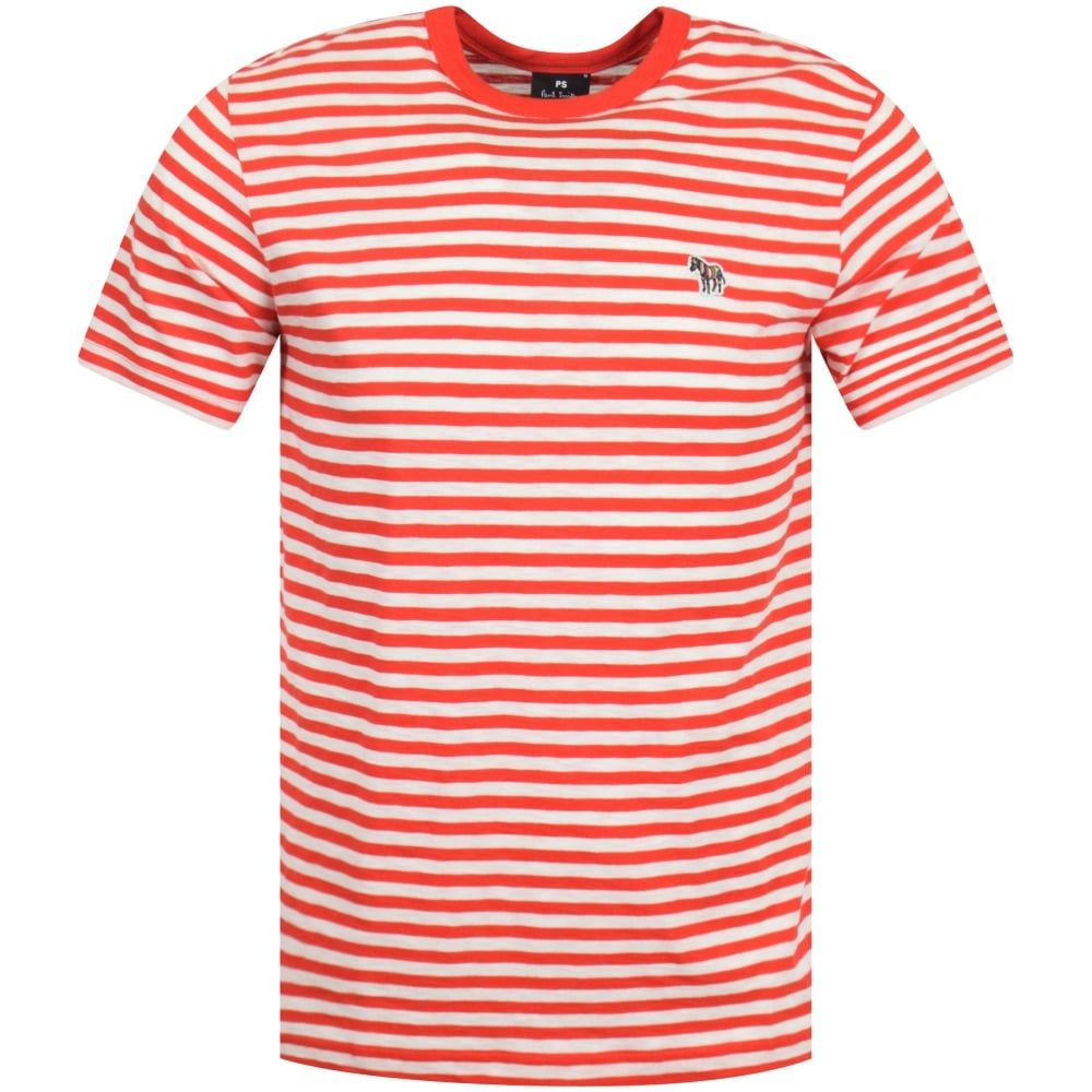 53b30271c2c3 PS PAUL SMITH Red/White Stripe Logo T-Shirt - Men from ...