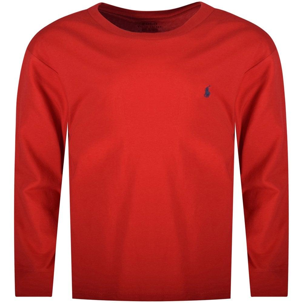 7f00b469131520 POLO RALPH LAUREN JUNIOR Red Classic Logo Long Sleeve T-Shirt ...