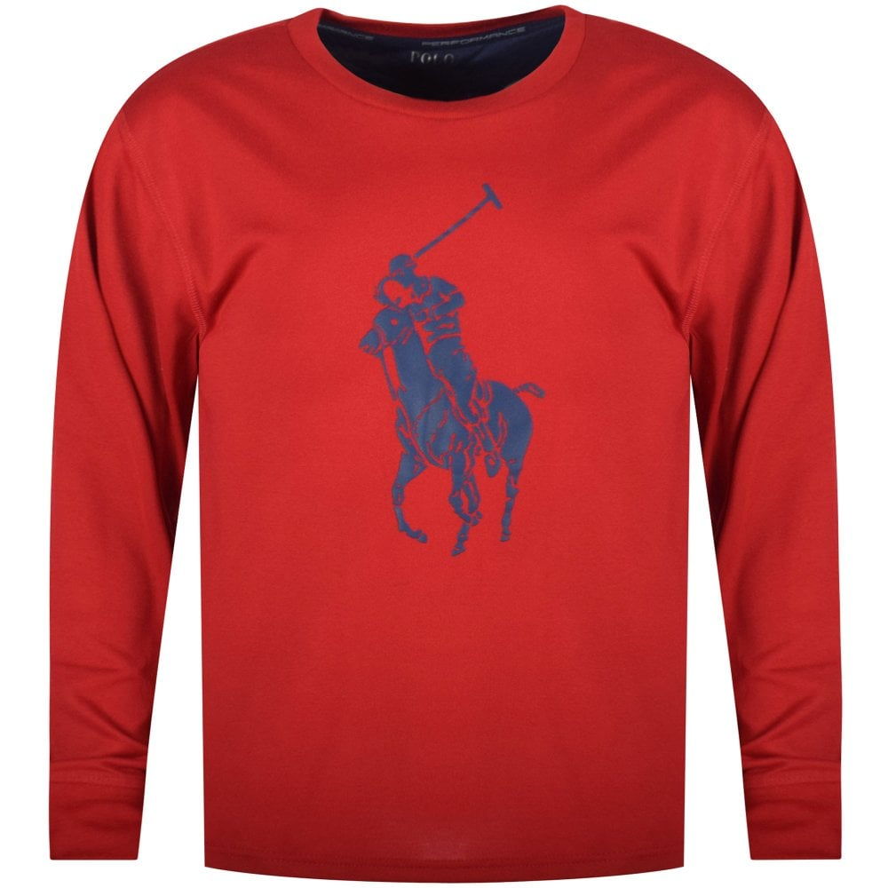 POLO RALPH LAUREN JUNIOR Red Navy Performance Long Sleeve T-Shirt ... 609c17df2483
