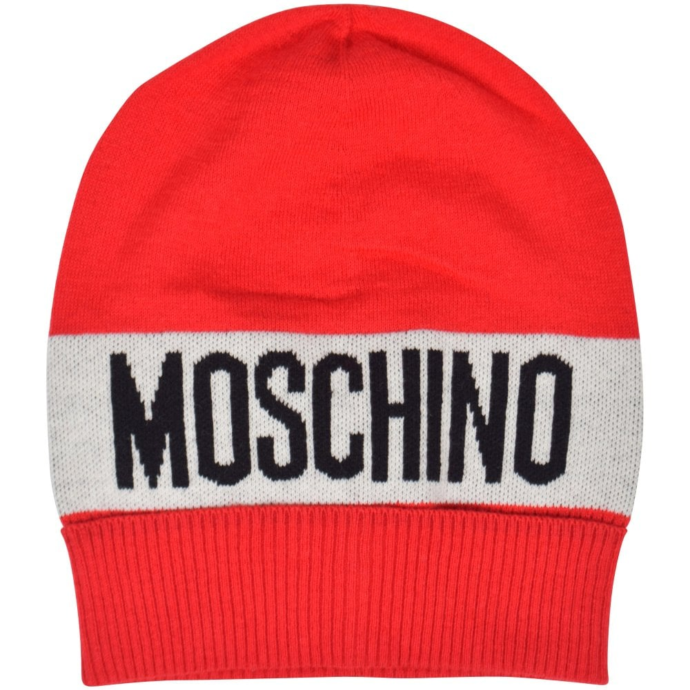 MOSCHINO TEEN Red White Logo Beanie Hat - Junior from Brother2Brother UK 072eae0a37c