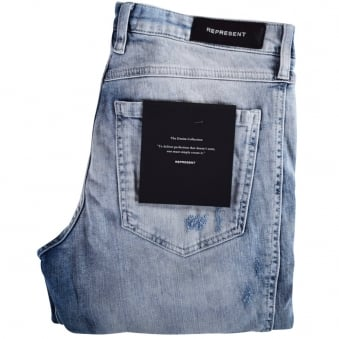Represent Acid Wash Destroyed Biker Denim Jeans