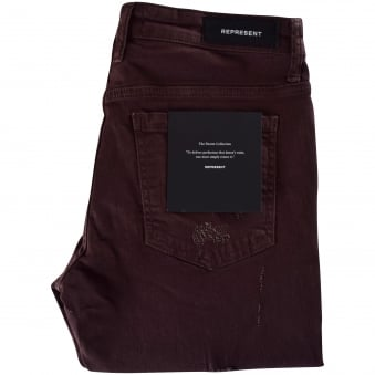 Represent Maroon Ripped Knee Destroyer Denim Jeans