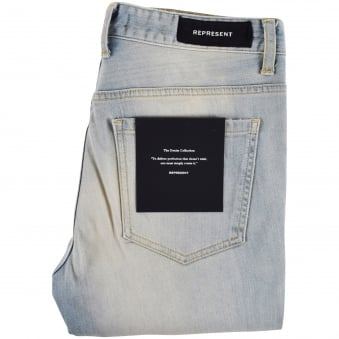 Represent Pale Blue Destroyed Hem Skinny Jeans