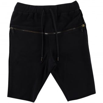 RH45 Black Shorts With Horizontal Zip Detailing