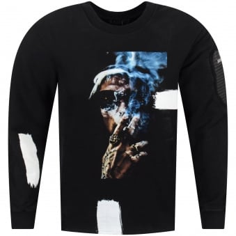 RH45 Blue Smoke Black Crew Neck Sweatshirt