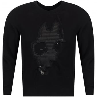 RH45 Leather Doberman Black Crew Neck Sweatshirt