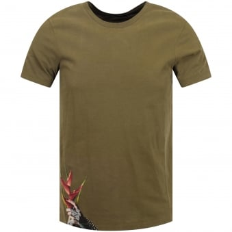 RH45 Paradise Woman Khaki Green Crew Neck T-Shirt